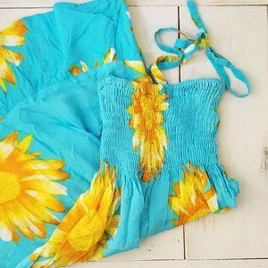 India Boutique Sunflower Halter Dress - NWT